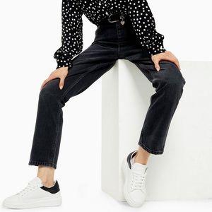 Topshop Editor Hi Rise Black Straight Cut Jeans